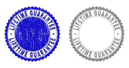 Grunge LIFETIME GUARANTEE stamp seals isolated on a white background. Rosette seals with grunge texture in blue and grey colors.