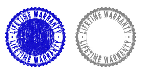 Grunge LIFETIME WARRANTY stamp seals isolated on a white background. Rosette seals with grunge texture in blue and gray colors. Illustration