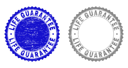Grunge LIFE GUARANTEE stamp seals isolated on a white background. Rosette seals with distress texture in blue and gray colors. Vector rubber stamp imitation of LIFE GUARANTEE tag inside round rosette.