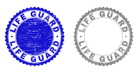 Grunge LIFE GUARD stamp seals isolated on a white background. Rosette seals with distress texture in blue and grey colors. Vector rubber stamp imitation of LIFE GUARD title inside round rosette. Illustration