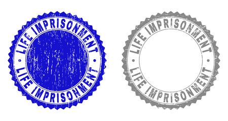 Grunge LIFE IMPRISONMENT stamp seals isolated on a white background. Rosette seals with grunge texture in blue and gray colors.
