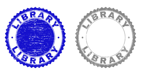 Grunge LIBRARY stamp seals isolated on a white background. Rosette seals with grunge texture in blue and grey colors. Vector rubber stamp imprint of LIBRARY title inside round rosette.