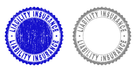 Grunge LIABILITY INSURANCE stamp seals isolated on a white background. Rosette seals with grunge texture in blue and gray colors.