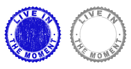 Grunge LIVE IN THE MOMENT stamp seals isolated on a white background. Rosette seals with distress texture in blue and grey colors. Иллюстрация