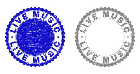 Grunge LIVE MUSIC stamp seals isolated on a white background. Rosette seals with grunge texture in blue and grey colors. Vector rubber stamp imitation of LIVE MUSIC caption inside round rosette.