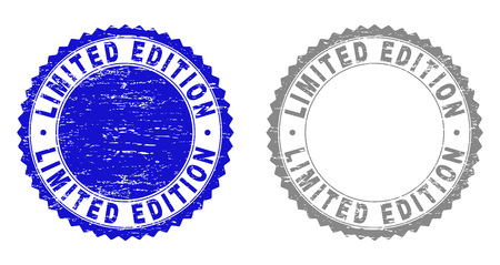 Grunge LIMITED EDITION stamp seals isolated on a white background. Rosette seals with grunge texture in blue and grey colors. Vector rubber watermark of LIMITED EDITION caption inside round rosette.