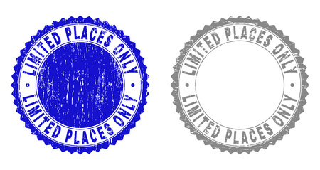 Grunge LIMITED PLACES ONLY stamp seals isolated on a white background. Rosette seals with grunge texture in blue and grey colors.