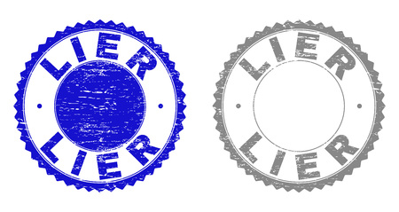 Grunge LIER stamp seals isolated on a white background. Rosette seals with distress texture in blue and gray colors. Vector rubber watermark of LIER label inside round rosette. 일러스트