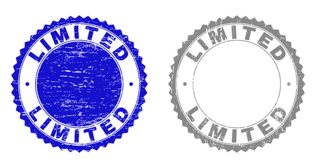 Grunge LIMITED stamp seals isolated on a white background. Rosette seals with grunge texture in blue and gray colors. Vector rubber stamp imprint of LIMITED text inside round rosette.