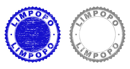 Grunge LIMPOPO stamp seals isolated on a white background. Rosette seals with distress texture in blue and grey colors. Vector rubber stamp imitation of LIMPOPO title inside round rosette.