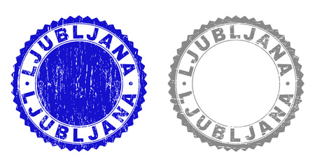 Grunge LJUBLJANA stamp seals isolated on a white background. Rosette seals with grunge texture in blue and gray colors. Vector rubber stamp imprint of LJUBLJANA text inside round rosette. Illustration