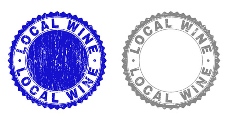 Grunge LOCAL WINE stamp seals isolated on a white background. Rosette seals with distress texture in blue and grey colors. Vector rubber stamp imitation of LOCAL WINE text inside round rosette.