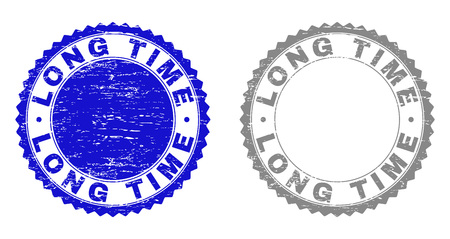 Grunge LONG TIME stamp seals isolated on a white background. Rosette seals with distress texture in blue and gray colors. Vector rubber stamp imprint of LONG TIME label inside round rosette.