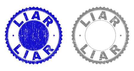 Grunge LIAR stamp seals isolated on a white background. Rosette seals with grunge texture in blue and gray colors. Vector rubber stamp imprint of LIAR label inside round rosette.
