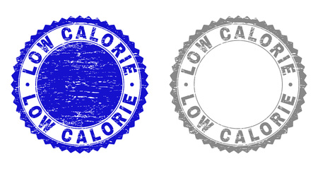 Grunge LOW CALORIE stamp seals isolated on a white background. Rosette seals with grunge texture in blue and gray colors. Vector rubber stamp imprint of LOW CALORIE tag inside round rosette. Reklamní fotografie - 116514216