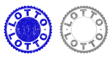 Grunge LOTTO stamp seals isolated on a white background. Rosette seals with grunge texture in blue and grey colors. Vector rubber watermark of LOTTO tag inside round rosette. Illustration