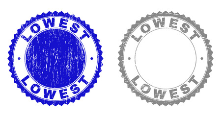 Grunge LOWEST stamp seals isolated on a white background. Rosette seals with grunge texture in blue and grey colors. Vector rubber stamp imprint of LOWEST caption inside round rosette. Illusztráció