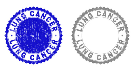 Grunge LUNG CANCER stamp seals isolated on a white background. Rosette seals with grunge texture in blue and grey colors. Vector rubber stamp imitation of LUNG CANCER caption inside round rosette. Illusztráció