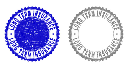 Grunge LONG TERM INSURANCE stamp seals isolated on a white background. Rosette seals with grunge texture in blue and gray colors. Иллюстрация
