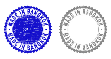 Grunge MADE IN BANGKOK stamp seals isolated on a white background. Rosette seals with grunge texture in blue and gray colors.