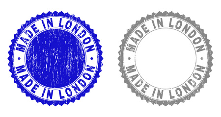 Grunge MADE IN LONDON stamp seals isolated on a white background. Rosette seals with grunge texture in blue and grey colors. Vector rubber watermark of MADE IN LONDON title inside round rosette.