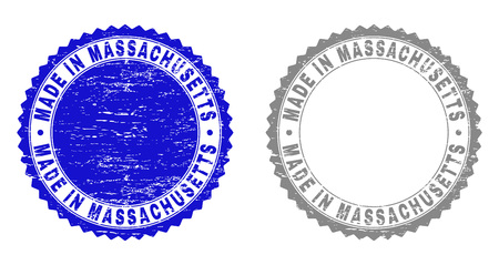Grunge MADE IN MASSACHUSETTS stamp seals isolated on a white background. Rosette seals with distress texture in blue and grey colors.