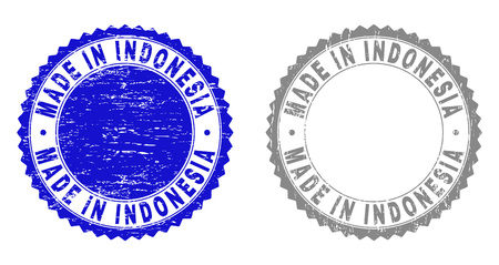 Grunge MADE IN INDONESIA stamp seals isolated on a white background. Rosette seals with grunge texture in blue and grey colors.