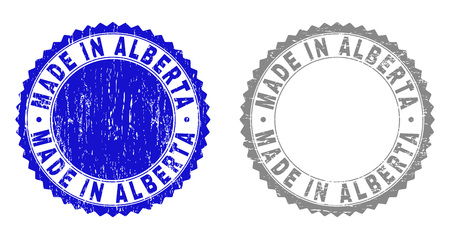 Grunge MADE IN ALBERTA stamp seals isolated on a white background. Rosette seals with grunge texture in blue and grey colors.