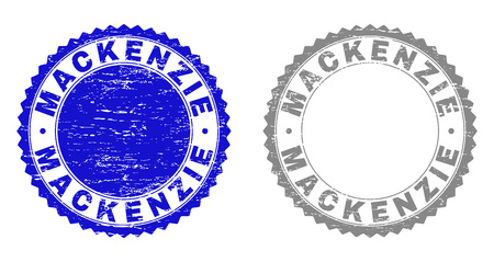 Grunge MACKENZIE stamp seals isolated on a white background. Rosette seals with grunge texture in blue and gray colors. Vector rubber stamp imprint of MACKENZIE label inside round rosette. Foto de archivo - 116514144