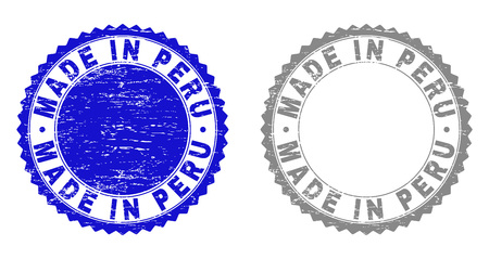 Grunge MADE IN PERU stamp seals isolated on a white background. Rosette seals with grunge texture in blue and gray colors. Vector rubber stamp imitation of MADE IN PERU label inside round rosette. Çizim