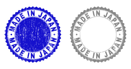 Grunge MADE IN JAPAN stamp seals isolated on a white background. Rosette seals with grunge texture in blue and gray colors. Vector rubber stamp imitation of MADE IN JAPAN text inside round rosette.