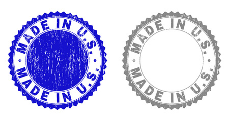 Grunge MADE IN U.S. stamp seals isolated on a white background. Rosette seals with grunge texture in blue and gray colors. Vector rubber stamp imprint of MADE IN U.S. tag inside round rosette. Çizim