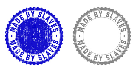 Grunge MADE BY SLAVES stamp seals isolated on a white background. Rosette seals with distress texture in blue and gray colors. Vector rubber stamp imitation of MADE BY SLAVES tag inside round rosette.