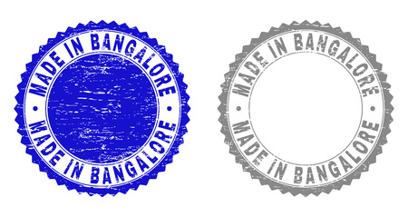 Grunge MADE IN BANGALORE watermarks isolated on a white background. Rosette seals with grunge texture in blue and gray colors. Illustration