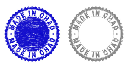 Grunge MADE IN CHAD stamp seals isolated on a white background. Rosette seals with grunge texture in blue and gray colors. Vector rubber stamp imitation of MADE IN CHAD title inside round rosette. Çizim