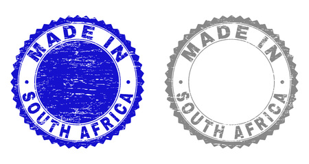 Grunge MADE IN SOUTH AFRICA stamp seals isolated on a white background. Rosette seals with grunge texture in blue and grey colors.
