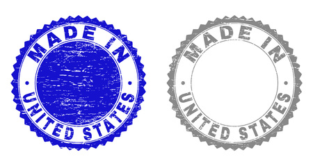 Grunge MADE IN UNITED STATES stamp seals isolated on a white background. Rosette seals with grunge texture in blue and gray colors. Çizim