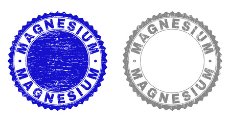 Grunge MAGNESIUM stamp seals isolated on a white background. Rosette seals with grunge texture in blue and grey colors. Vector rubber stamp imprint of MAGNESIUM caption inside round rosette.