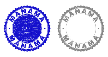 Grunge MANAMA stamp seals isolated on a white background. Rosette seals with grunge texture in blue and grey colors. Vector rubber overlay of MANAMA text inside round rosette.