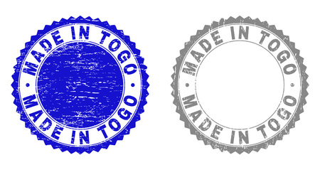 Grunge MADE IN TOGO stamp seals isolated on a white background. Rosette seals with grunge texture in blue and gray colors. Vector rubber stamp imprint of MADE IN TOGO tag inside round rosette.