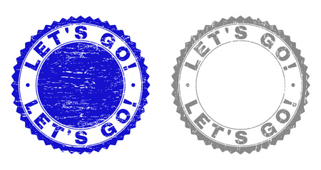 Grunge LETS GO! stamp seals isolated on a white background. Rosette seals with grunge texture in blue and grey colors. Vector rubber stamp imitation of LETS GO! title inside round rosette.