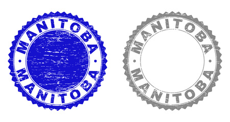 Grunge MANITOBA stamp seals isolated on a white background. Rosette seals with distress texture in blue and gray colors. Vector rubber stamp imitation of MANITOBA tag inside round rosette.