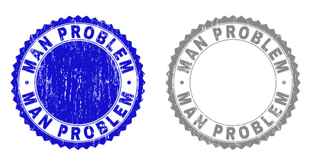 Grunge MAN PROBLEM stamp seals isolated on a white background. Rosette seals with grunge texture in blue and gray colors. Vector rubber stamp imprint of MAN PROBLEM tag inside round rosette.