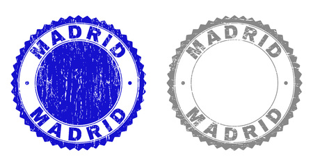 Grunge MADRID stamp seals isolated on a white background. Rosette seals with grunge texture in blue and gray colors. Vector rubber stamp imprint of MADRID label inside round rosette. Çizim