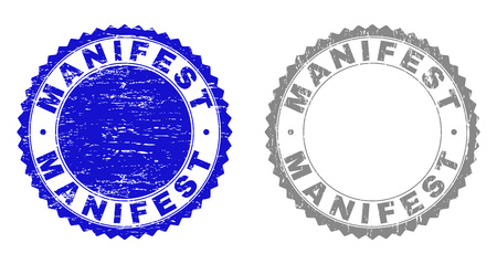 Grunge MANIFEST stamp seals isolated on a white background. Rosette seals with distress texture in blue and gray colors. Vector rubber stamp imprint of MANIFEST text inside round rosette. Illustration