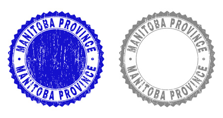 Grunge MANITOBA PROVINCE stamp seals isolated on a white background. Rosette seals with grunge texture in blue and grey colors.