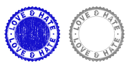 Grunge LOVE & HATE stamp seals isolated on a white background. Rosette seals with grunge texture in blue and gray colors. Vector rubber stamp imprint of LOVE & HATE tag inside round rosette.  イラスト・ベクター素材