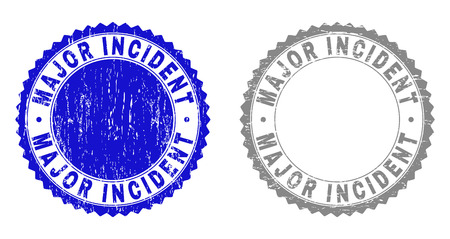 Grunge MAJOR INCIDENT stamp seals isolated on a white background. Rosette seals with distress texture in blue and grey colors. Vectores