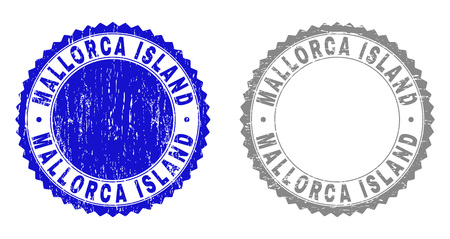 Grunge MALLORCA ISLAND watermarks isolated on a white background. Rosette seals with grunge texture in blue and gray colors.