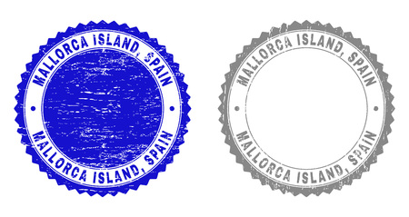 Grunge MALLORCA ISLAND, SPAIN stamp seals isolated on a white background. Rosette seals with grunge texture in blue and grey colors. Vector rubber stamp imitation of MALLORCA ISLAND,